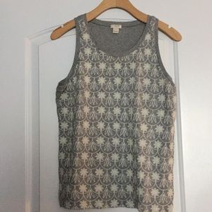 J. Crew Gray White Embroidered Floral Tank Top S
